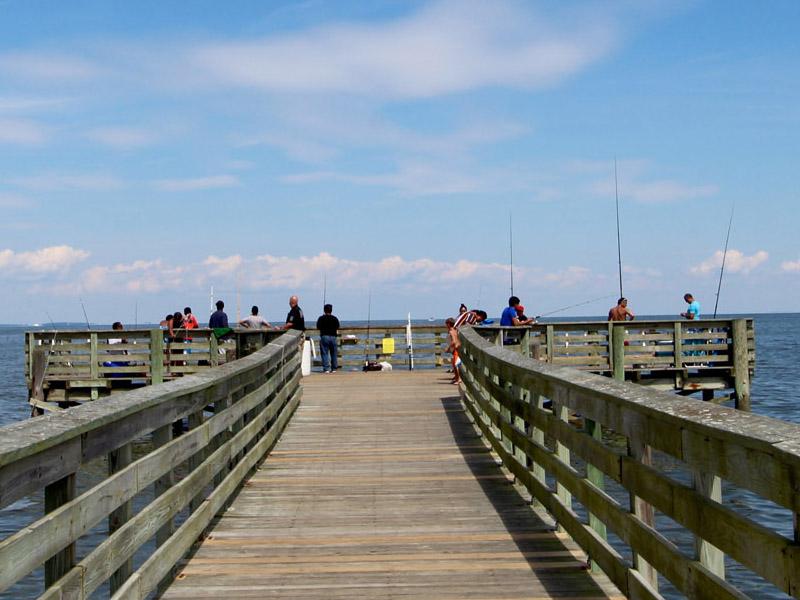 Fishing Pier On Beach Chesapeake Maryland